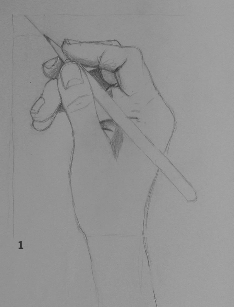 Hand Holding Pencil Sketch