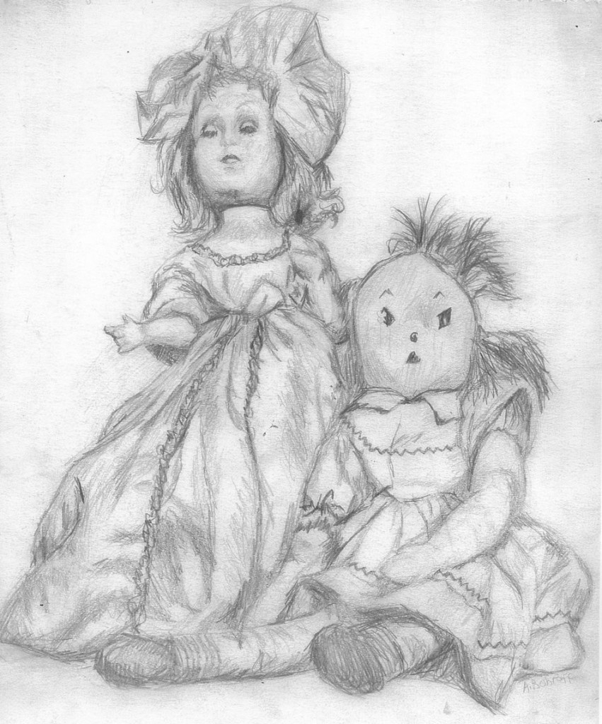 Fancy doll and ragged Raggedy Ann