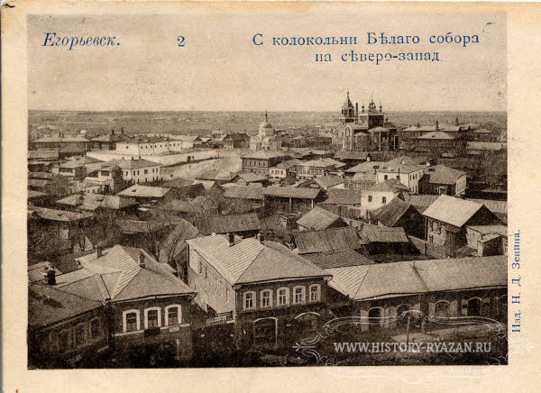 Photographs taken from church bell towers reveal wooden roofs in small towns in Ryazan province