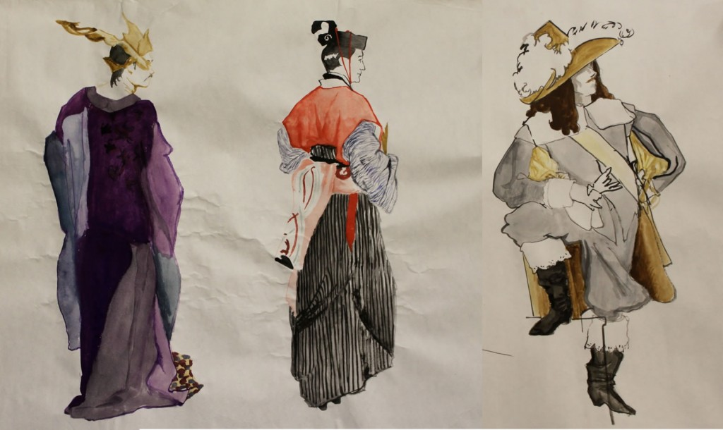 Three costume drawings by Marie McCann-Barab