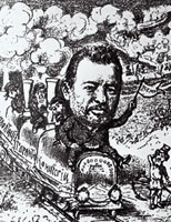 Cartoon of Samuel Polyakov, Railroad construction magnate