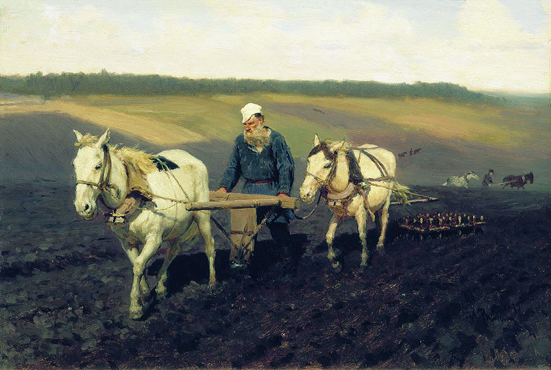 This painting by Ilya Repin shows the Russian plow and, in back of the 2nd horse, the harrow.  Both types of equipment were made at Levontin's factory.