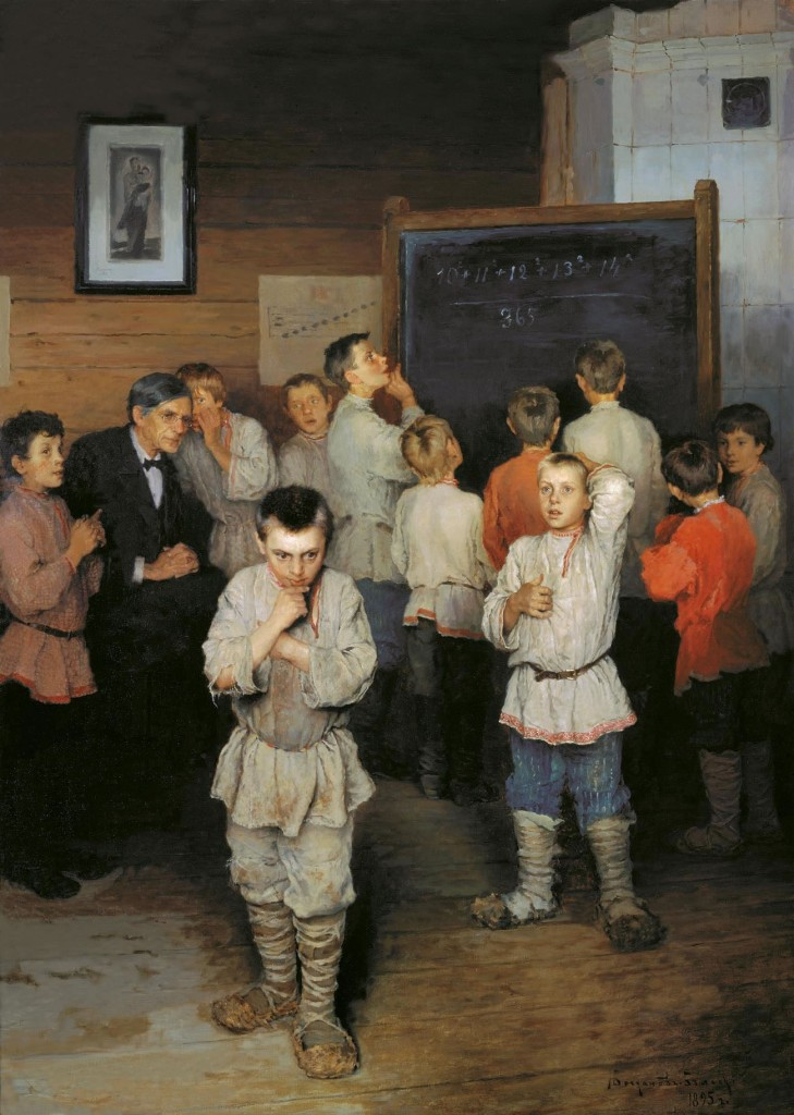 Russian rural school boys:  Oral Sums, by N. P. Bogdanov-Bel'skii