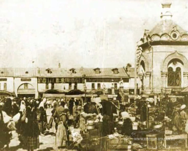 Closeup of trade stalls in New Bazaar square, Ryazan
