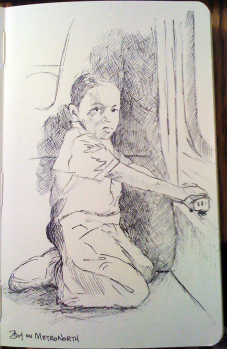 Nicole Mone's sketch of a boy on a Metronorth train