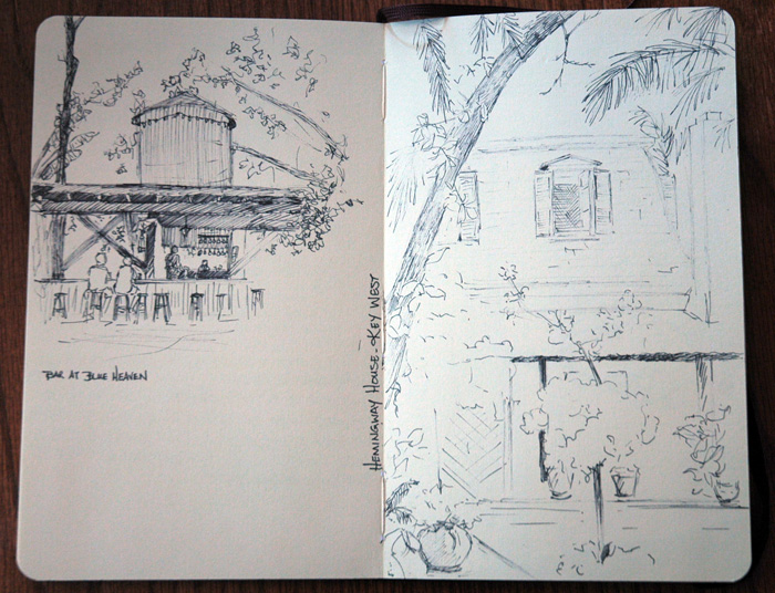 Nicole Mone's sketchbook: ink drawings of Key West