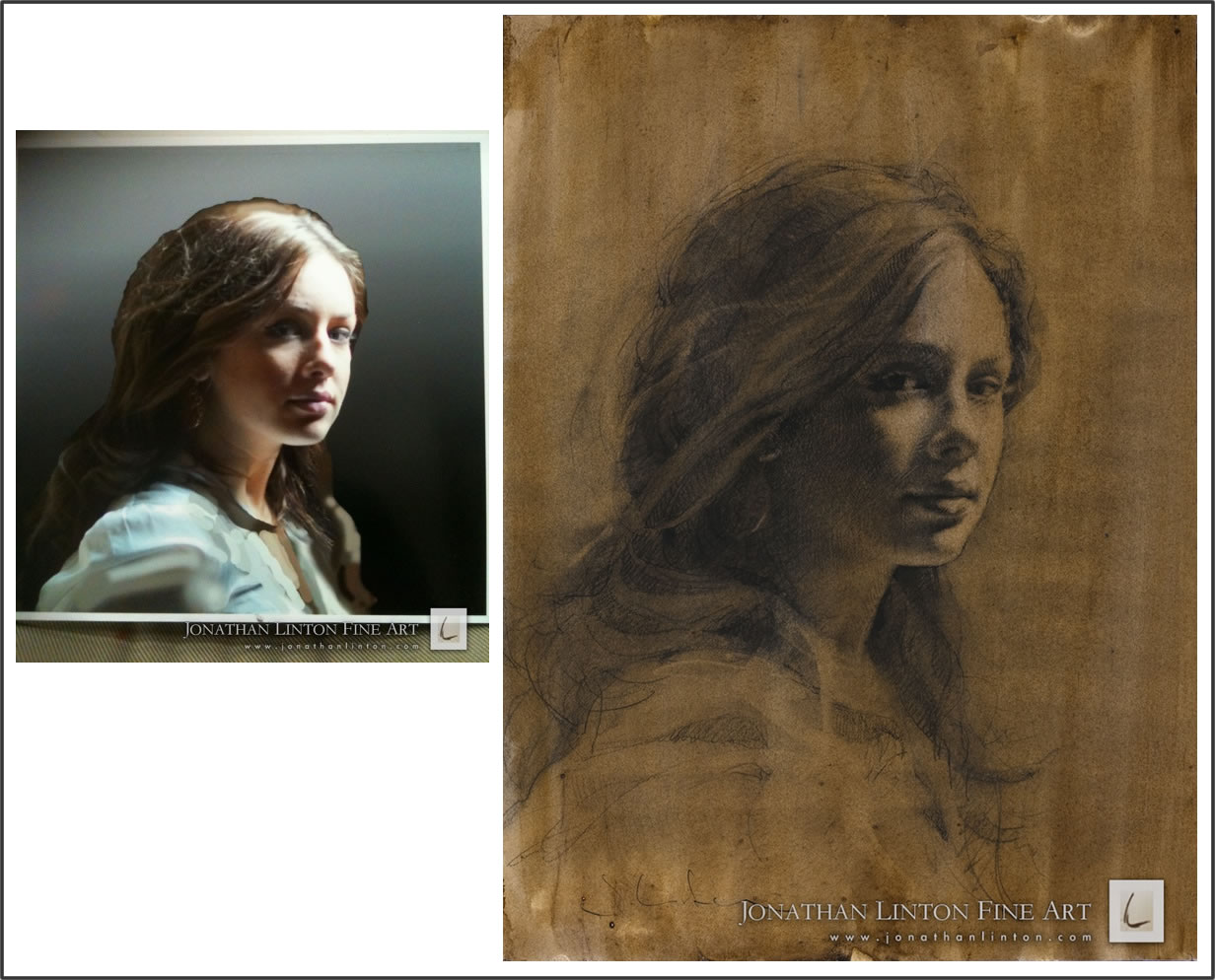 Reference photo and final drawing by Jonathan Linton