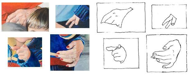 Detail of Steinbergs' hands along with tracing