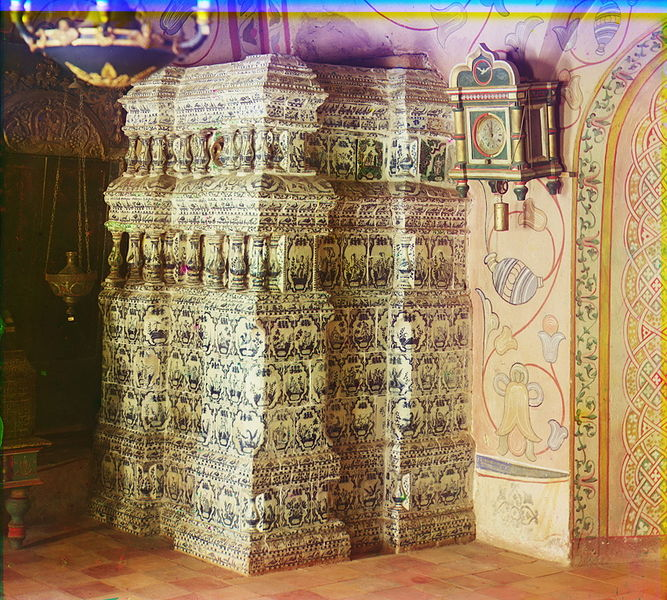 Tile-covered Russian stove from the Rostov Prince's Palace. Note many of these tiles are the flat-surfaced, painted style.