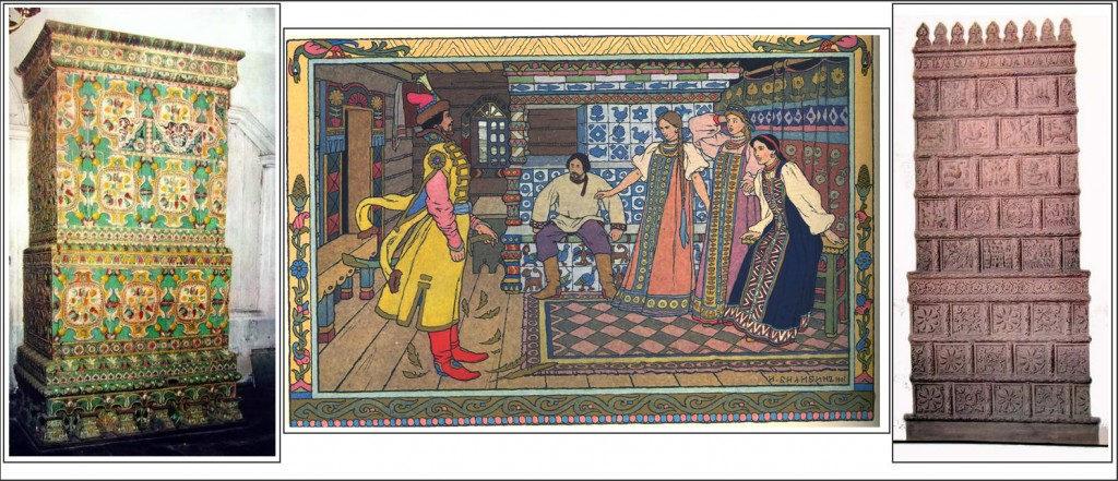 Left to right: Russian tiled stove, 1680; Fairy tale illustration by I. A. Bilibin with tiled peasant stove in backgroung; Red (earthenware?) tiled Russian stove.