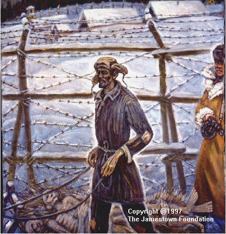 Getman's painting of the daily sled-pickup of bodies of prisoners who died overnight. Estimates of the numbers who died in Stalin's camps range upward of 10 million.