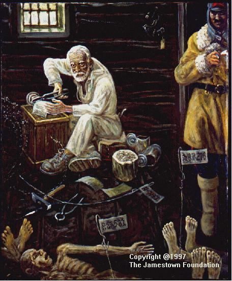 Getman's painting of a morgue in a goldmine prison camp in Russia's far northeast.