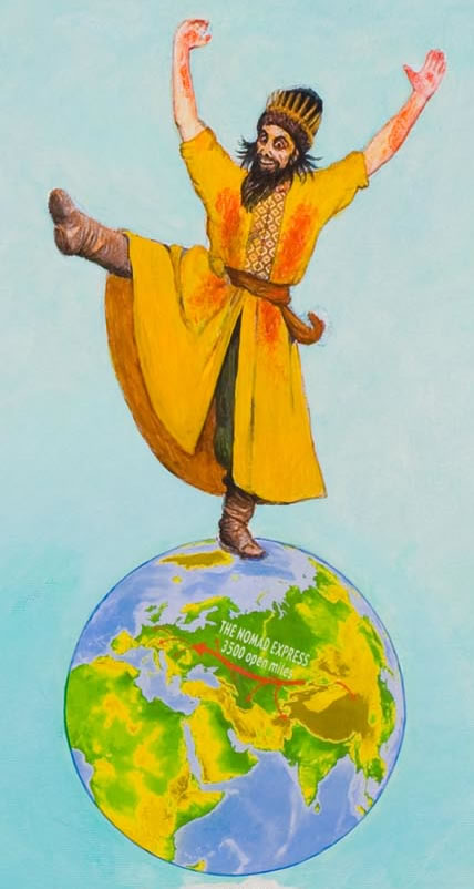 Ivan the Terrible dances triumphantly atop the globe